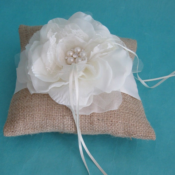 Rustic Wedding Ring Pillow, Bearer Pillow in Burlap with Ivory Lace and Organza Rose G141