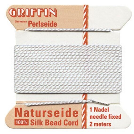 White Griffin Natural Silk Cord No. 6 w Needle 2 pkgs