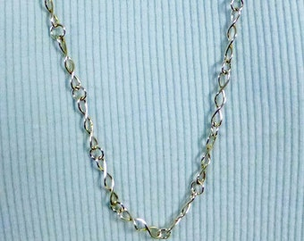 OOAK Handmade Argentium Silver Twisted Link Necklace 27 Inches in Length