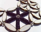White and Purple Bib Necklace