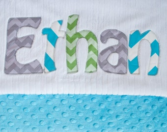 Monogrammed Baby Blanket in CHEVRON, TURQUOISE Dot Minky and White Chenille, Personalized with Your Baby Boy's First Name in Zig Zags