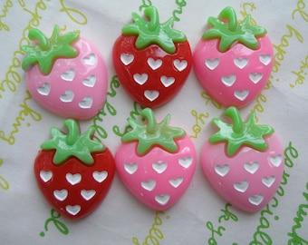 sale Strawberry cabochon Set 3 colors 6pcs Heart dots 25mm x 19mm