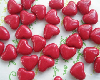 Small Puffy Heart BEADS 20pcs PH Bloody Red Size S