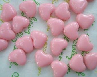 Small Puffy Heart BEADS 20pcs PH  Baby Pink Size S