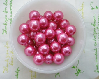 Hot pink Pearlized round beads 14mm 10pcs PD-006