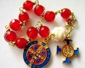 handmade rosar   tibet oxen  rose beads red agate st.benedict bracelet  cross