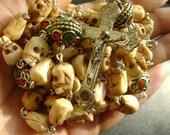Handmade Old Bone Skulls Nepal Hahdmade Beautiful opper Beads Rosary Cross