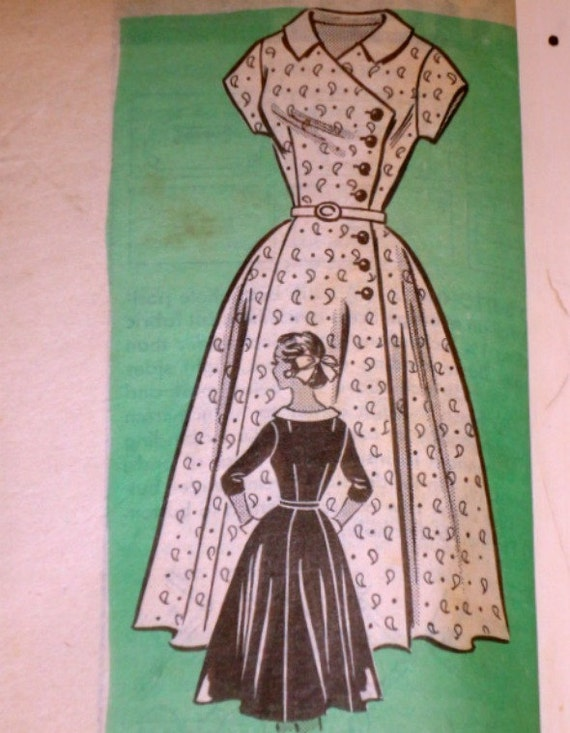 Vintage 1950s Maiil Order 4556 Sewing Pattern, Dress With Contrast Collar, Size 14, 34 Bust