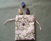 Tiny Brown Owls on Cream - Cotton Drawstring Pouch Set of Three Different Sizes