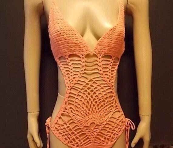 Hand Crochet Pink Pineapple Monokini hand dyed