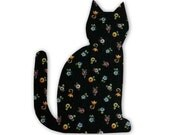 Black Cat Fusible Fabric Appliques Cotton Quilting Sewing Collage Die Cut