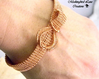 "Woven Wire Copper Cuff Bracelet will fit a 7"" Wrist."