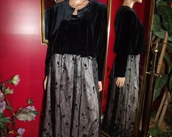 Vintage  2-pc Garment   Flapper dress Jacket Velvet   Size 12Petite