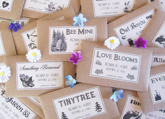 100 Wedding Favor Seeds - Flower Seed Favors - Unique Wedding Favors Flower Seeds - Personalized Seed Packet Favors - Wedding Seed Favors