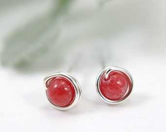 Tiny rose red mountain jade earrings sterling silver wire wrapped earrings red stud earrings red post earring small second piercing 5mm mini