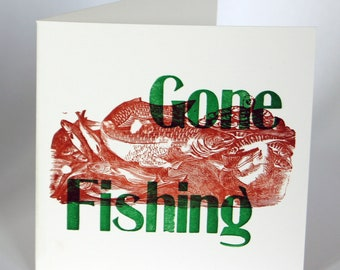 Letterpress Woodblock Cards - Gone Fishing