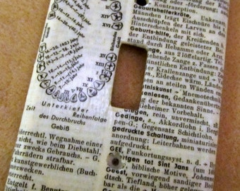 vintage GERMAN dictionary UNTERKIEFER (mandible) light switch plate