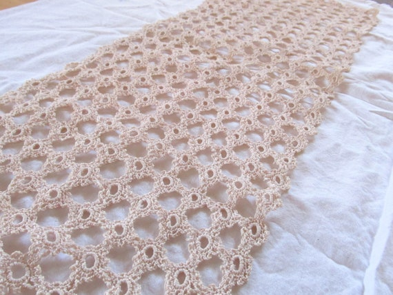 """vintage CROCHET LACE DOILY soft pink buff  --table runner (25"""" x 9"""")"""