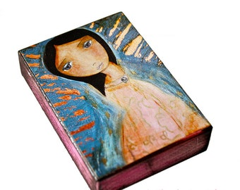Milagrosa Guadalupe - ACEO Giclee print mounted on Wood (2.5 x 3.5 inches) Folk Art  by FLOR LARIOS