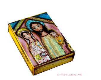Nativity Night -  Giclee print mounted on Wood (4 x 5 inches) Folk Art  by FLOR LARIOS
