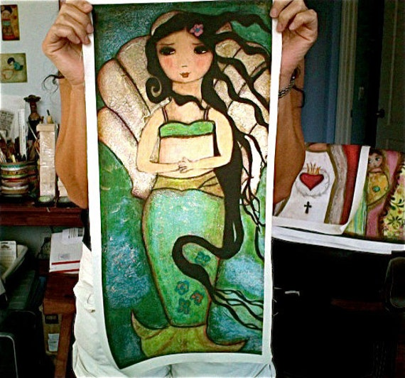 Venus Mermaid - Large Print on Fabric from Original Painting (10 x 20 inches) by FLOR LARIOS