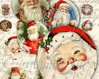 SANTA CIRCLES Collage Digital Images -printable download file-