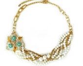 Multi Strand Statement Wedding Necklace, Vintage Flower Brooch, Rhinestone, Blue, Gold, White, Bridal Jewelry, OOAK, Something Blue