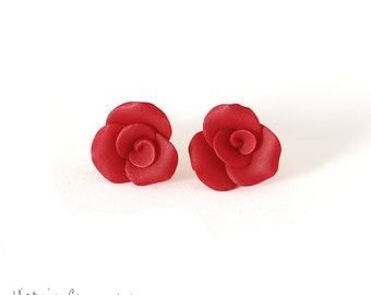 Small Red Rose Earrings, Sterling Silver, Posts, Handformed Clay Roses, Crimson, Tiny, Petite, Flower - Ready to Ship
