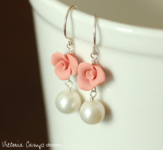 Pink Rose Earrings, White Pearl, Freshwater Pearls, Sterling Silver, Hand Formed Clay Roses, Drop, Dangle - Ready to Ship