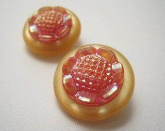 Pop Art Plastic Flower Clip-On Earrings