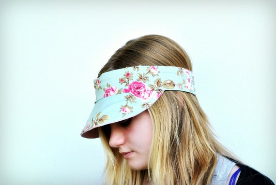 Free Shipping in Australia- Pink linen and shabby chic blue and pink roses fabric Visor reversible and fits Small to medium size heads.