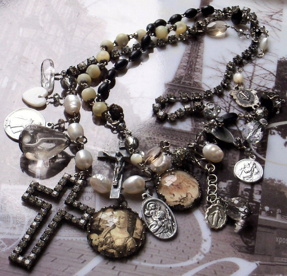 Gentle on my Mind Pearls Sterling & Antique French MOP Rosary necklace