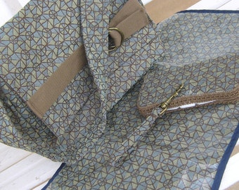 Diaper Bag- -Geometric Triangles in Brown, Blue, and Greens, Changing Mat and Wipe Case