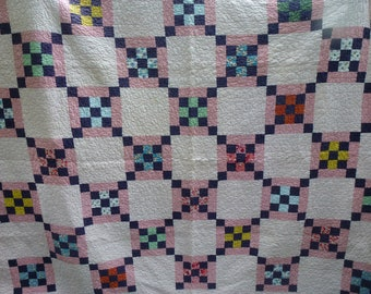 Vintage Nine Patch Quilt With Picture Frame Border Pink Feed Sack Girls Room Antique Pink Quilt