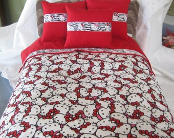 """Cute 5 Piece Fits American Girl 18"""" Doll Bedding Hello Kitty 3 Pillows Bedspread Top Sheet"""