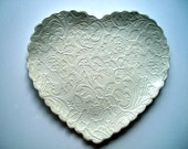 Victorian White Heart Cookie Plate
