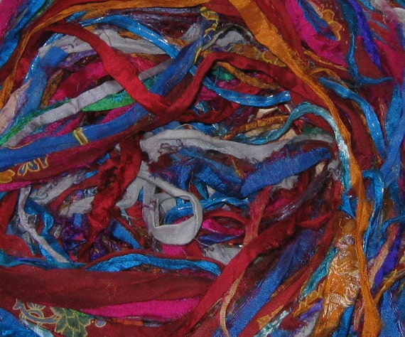 54 yards Recycled Sari Silk Ribbon, 3.4 oz, 95 grams, Fair Trade, SLIGHTLY IRREGULAR
