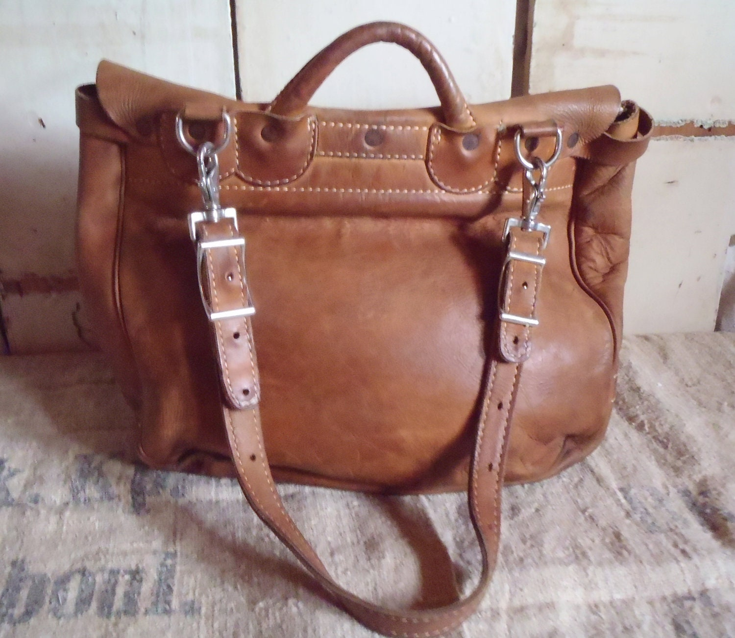 Vintage Leather Messenger Bag Letter Carrier Postal The J