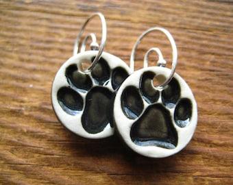 Black Paw Print Earrings