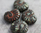 sale .. FOSSIL .. 4 Picasso Czech Nautilus Ammonite Glass Beads 13x17x4mm (1480-4)