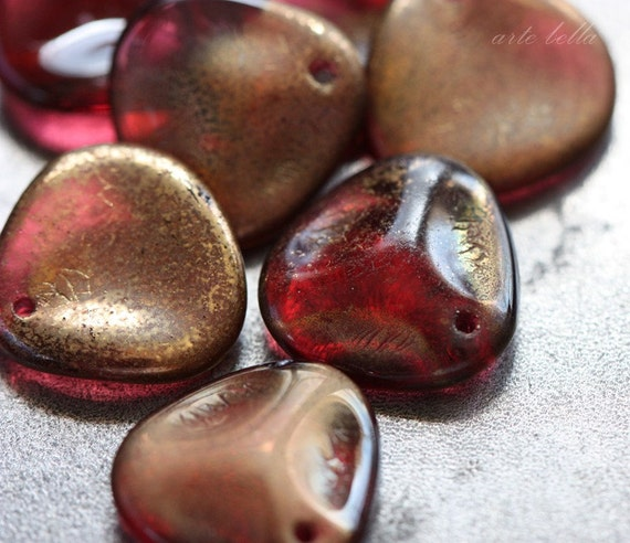 last one .. WHISKEY ROSE PETALS .. Fire Polished Czech Glass Beads 14mm (1770-9)