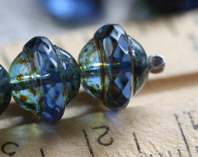 SAPPHIRE BLISS .. 10 Picasso Czech Glass Saturn Beads 8x10mm (3541-10)