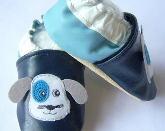 handmade soft soled leather baby shoes navy baby blue puppy face