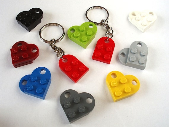 Love Heart Keychain - Friendship Heart Keychains - Heart Keyrings - Handmade with LEGO(r) parts