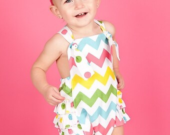 Chevron Baby Girl Sunsuit Romper Bubble with Ruffles - Candy Coated Multi