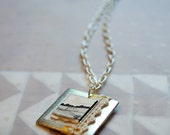 Original Wearable Artwork: Silver & Cream Landscape Painting Necklace