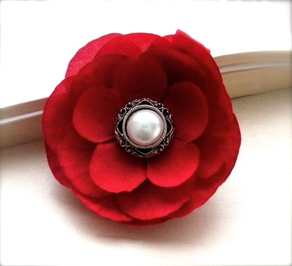 Christmas Red Child Flower Hair Clip