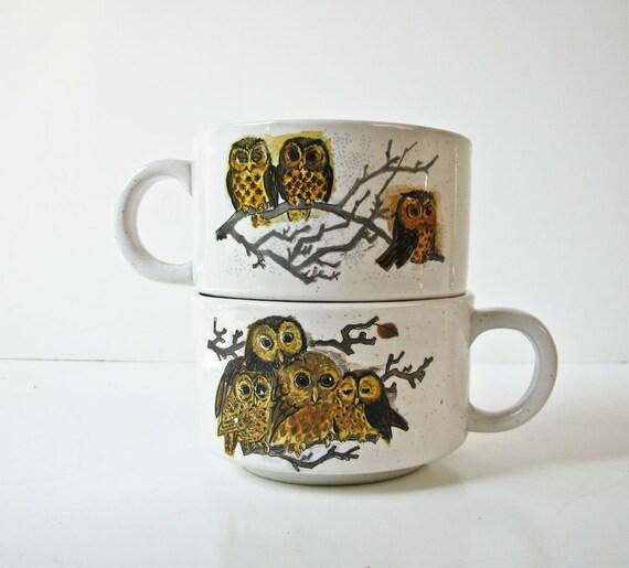 2 Vintage Owl Soup Bowls