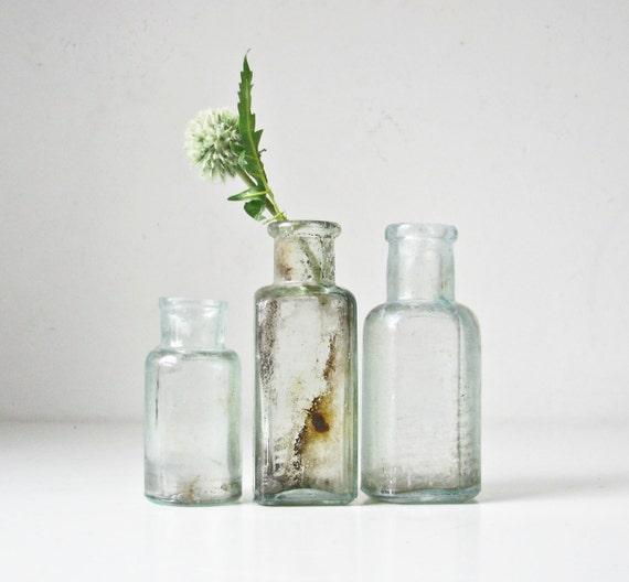 3 Vintage Aqua Glass Bottles