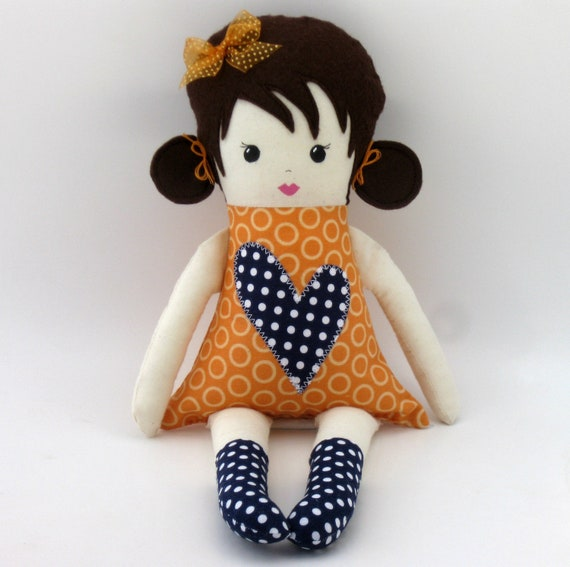 Fabric Doll Cloth rag doll with navy blue and orange clothes